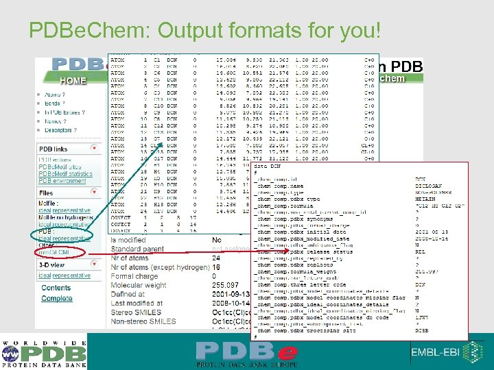 PDBe. Chem: Output formats for you!