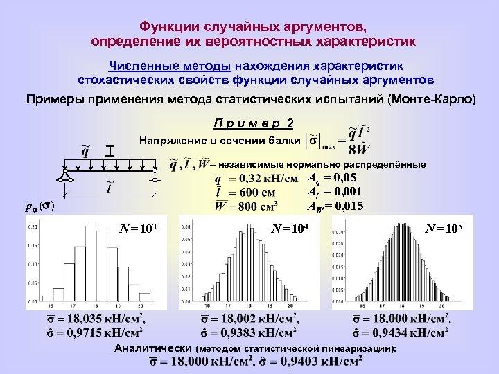 Функции случайных аргументов, определение их вероятностных характеристик Численные методы нахождения характеристик стохастических свойств функции