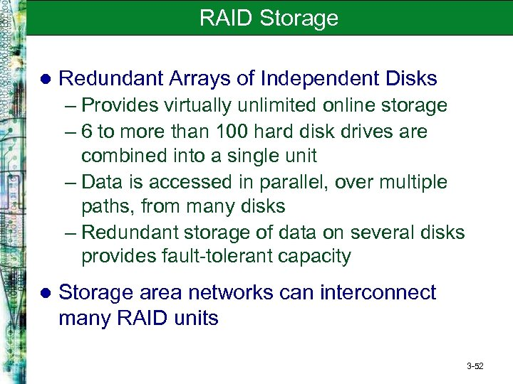an analysis of the redundant array of independent disks in the storage capacity possibilities of an  The drives can be built in an enterprise-class redundant array of independent disks (raid) redundant design or used in pass-through mode this high-density rack server easily fits in a standard 32-inch-depth rack, such as the cisco r42610 rack.