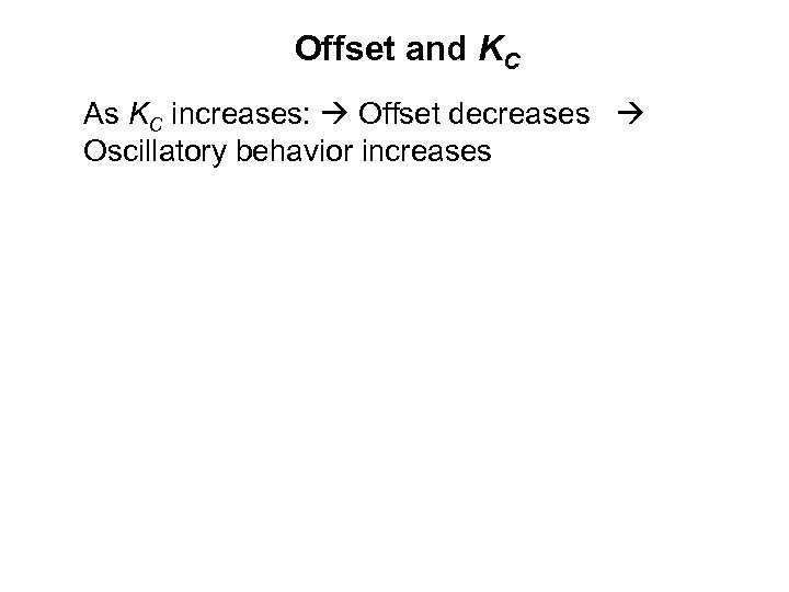 Offset and KC As KC increases: Offset decreases Oscillatory behavior increases