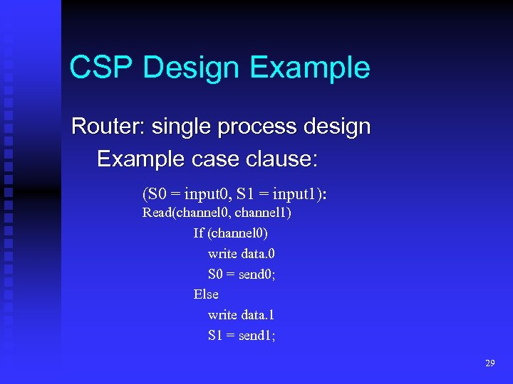 CSP Design Example Router: single process design Example case clause: (S 0 = input