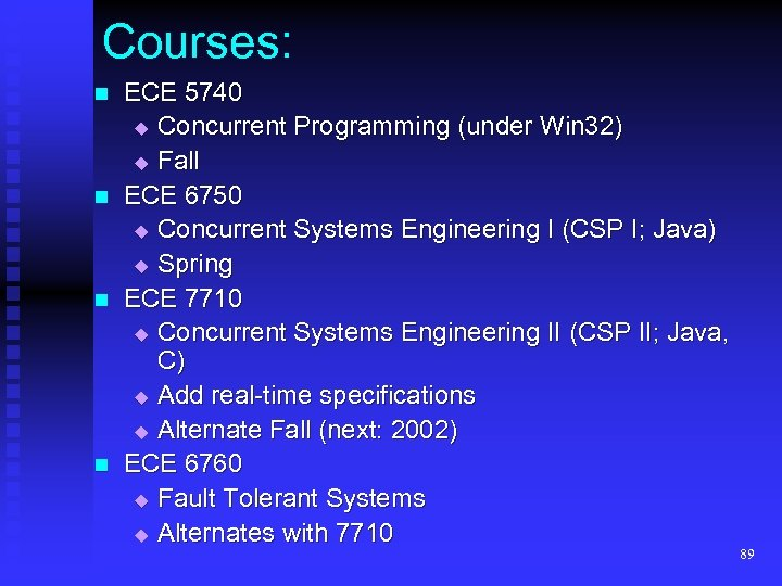 Courses: n n ECE 5740 Concurrent Programming (under Win 32) Fall ECE 6750 Concurrent