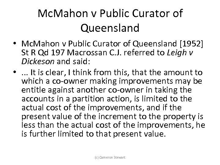 Mc. Mahon v Public Curator of Queensland • Mc. Mahon v Public Curator of