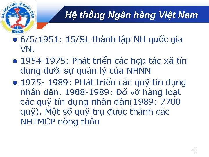 Hệ thống Ngân hàng Việt Nam Company LOGO 6/5/1951: 15/SL thành lập NH quốc