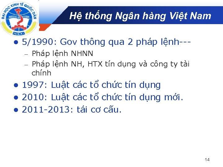 Hệ thống Ngân hàng Việt Nam Company LOGO l 5/1990: Gov thông qua 2