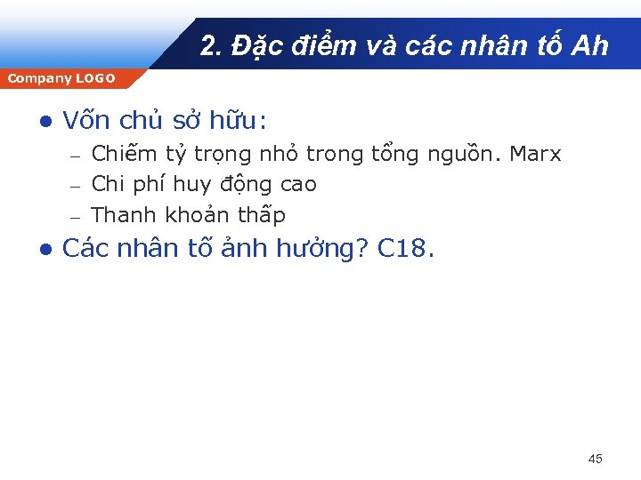 2. Đặc điểm và các nhân tố Ah Company LOGO l Vốn chủ sở