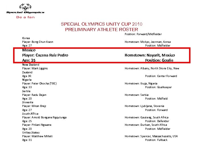 SPECIAL OLYMPICS UNITY CUP 2010 PRELIMINARY ATHLETE ROSTER Korea Player: Bong Chun Kwon Age: