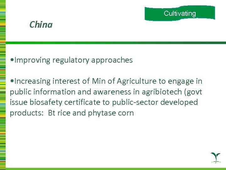 Cultivating China • Improving regulatory approaches • Increasing interest of Min of Agriculture to