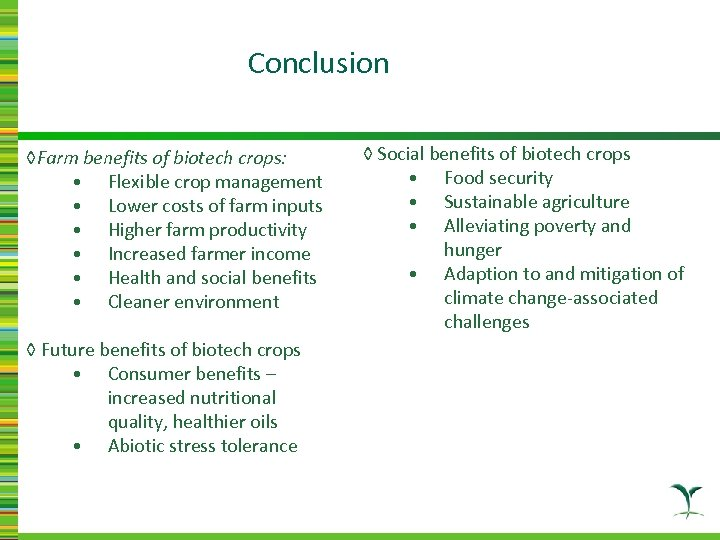 Conclusion ◊Farm benefits of biotech crops: • Flexible crop management • Lower costs of