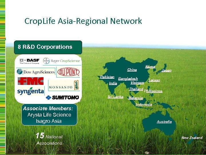 Crop. Life Asia-Regional Network 8 R&D Corporations China Pakistan Bangladesh Vietnam India Thailand Sri