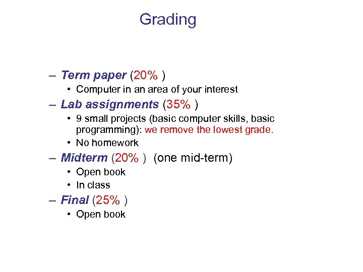Grading – Term paper (20% ) • Computer in an area of your interest