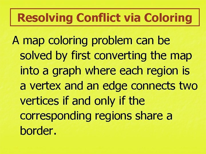 Resolving Conflict via Coloring A map coloring problem can be solved by first converting