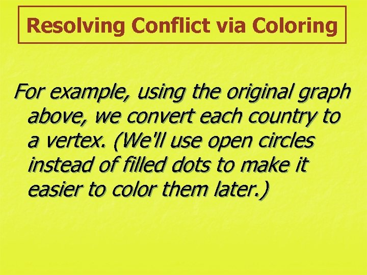Resolving Conflict via Coloring For example, using the original graph above, we convert each