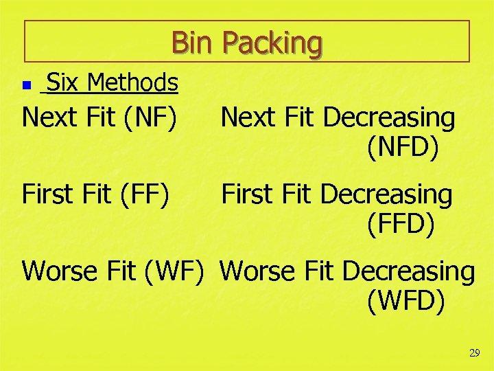 Bin Packing n Six Methods Next Fit (NF) Next Fit Decreasing (NFD) First Fit