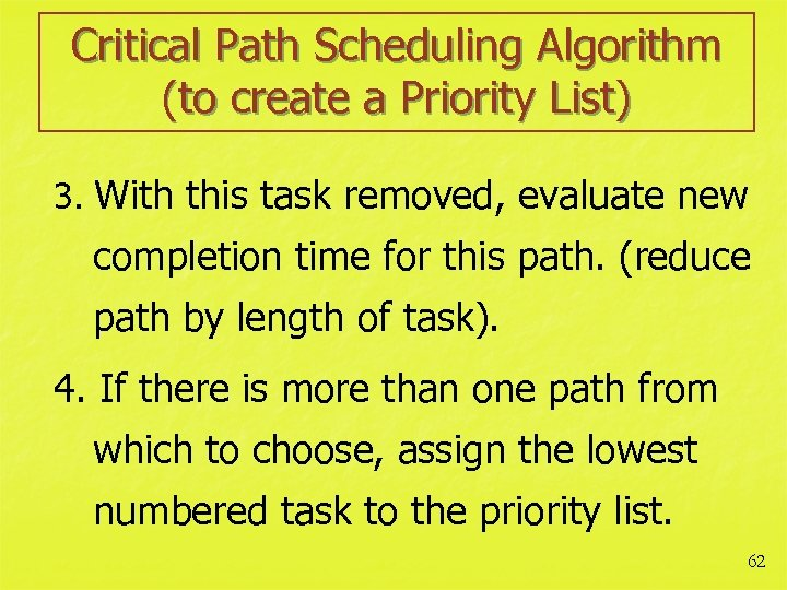 Critical Path Scheduling Algorithm (to create a Priority List) 3. With this task removed,