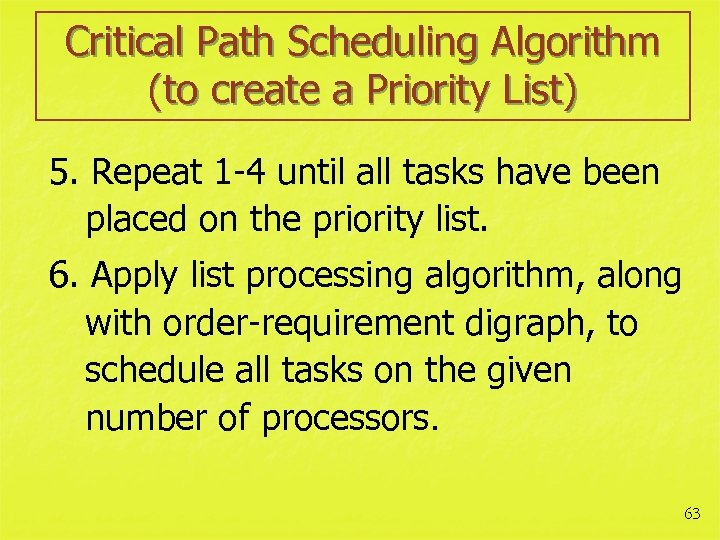Critical Path Scheduling Algorithm (to create a Priority List) 5. Repeat 1 -4 until