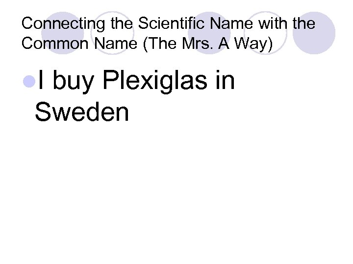 Connecting the Scientific Name with the Common Name (The Mrs. A Way) l. I
