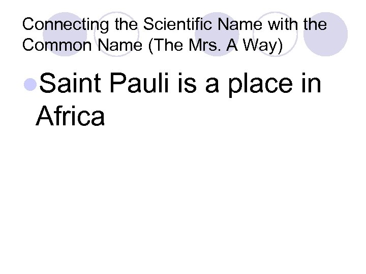 Connecting the Scientific Name with the Common Name (The Mrs. A Way) l. Saint