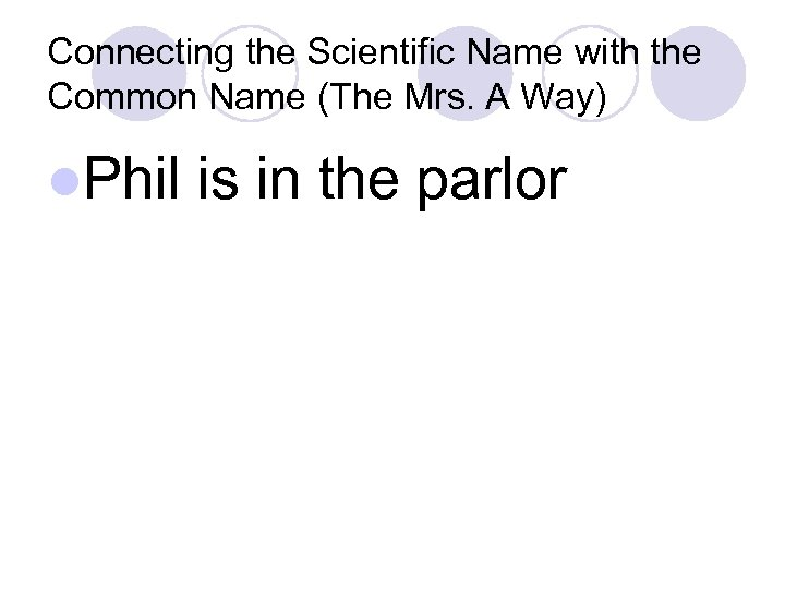 Connecting the Scientific Name with the Common Name (The Mrs. A Way) l. Phil