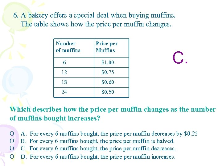 6. A bakery offers a special deal when buying muffins. The table shows how