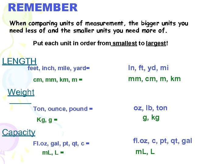 REMEMBER When comparing units of measurement, the bigger units you need less of and