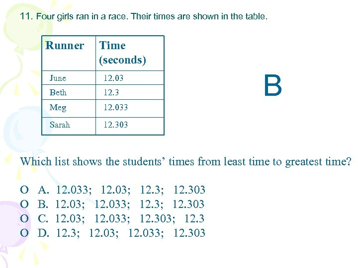 11. Four girls ran in a race. Their times are shown in the table.