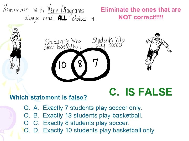 Eliminate the ones that are NOT correct!!!! Which statement is false? O. O. O