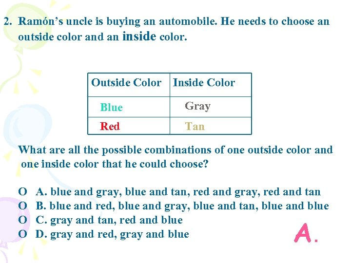 2. Ramón's uncle is buying an automobile. He needs to choose an outside color