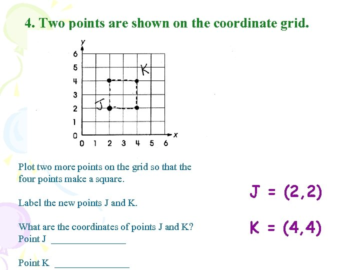 4. Two points are shown on the coordinate grid. Plot two more points on