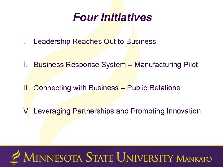 Four Initiatives I. Leadership Reaches Out to Business II. Business Response System – Manufacturing