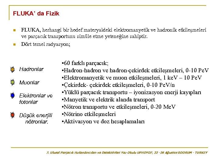 FLUKA' da Fizik n n FLUKA, herhangi bir hedef materyaldeki elektromanyetik ve hadronik etkileşmeleri