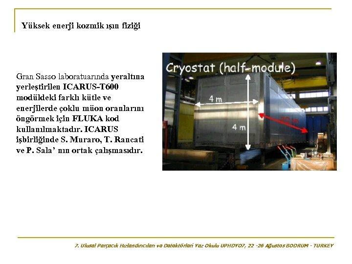 Yüksek enerji kozmik ışın fiziği Gran Sasso laboratuarında yeraltına yerleştirilen ICARUS-T 600 modüldeki farklı
