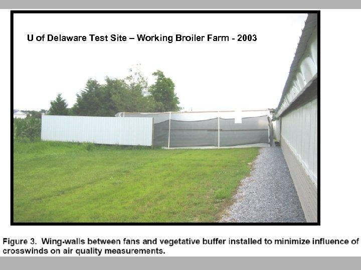 U of Delaware Test Site – Working Broiler Farm - 2003