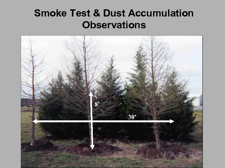 Smoke Test & Dust Accumulation Observations 8' 30'