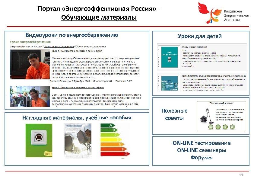 Портал «Энергоэффективная Россия» Обучающие материалы Видеоуроки по энергосбережению Уроки для детей Детские уроки Наглядные