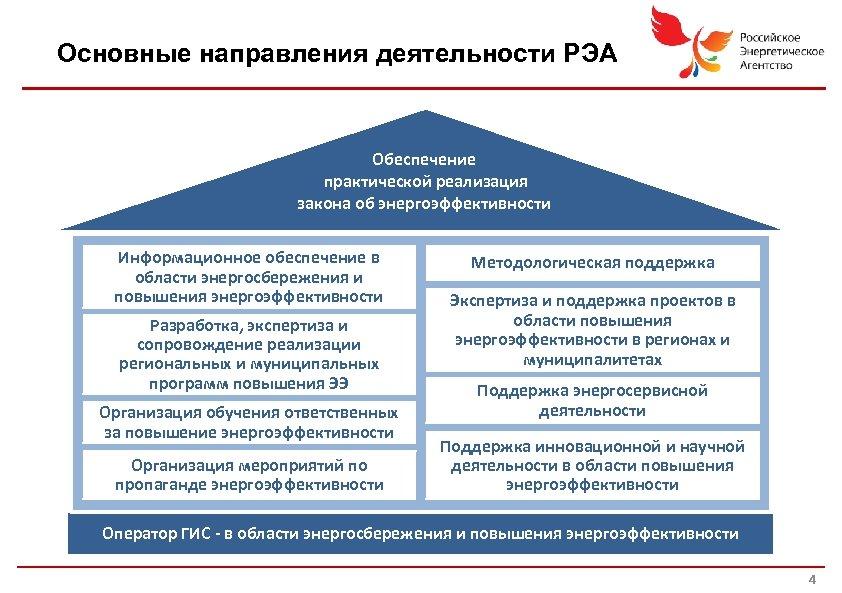 Основные направления деятельности РЭА Обеспечение практической реализация закона об энергоэффективности Информационное обеспечение в области