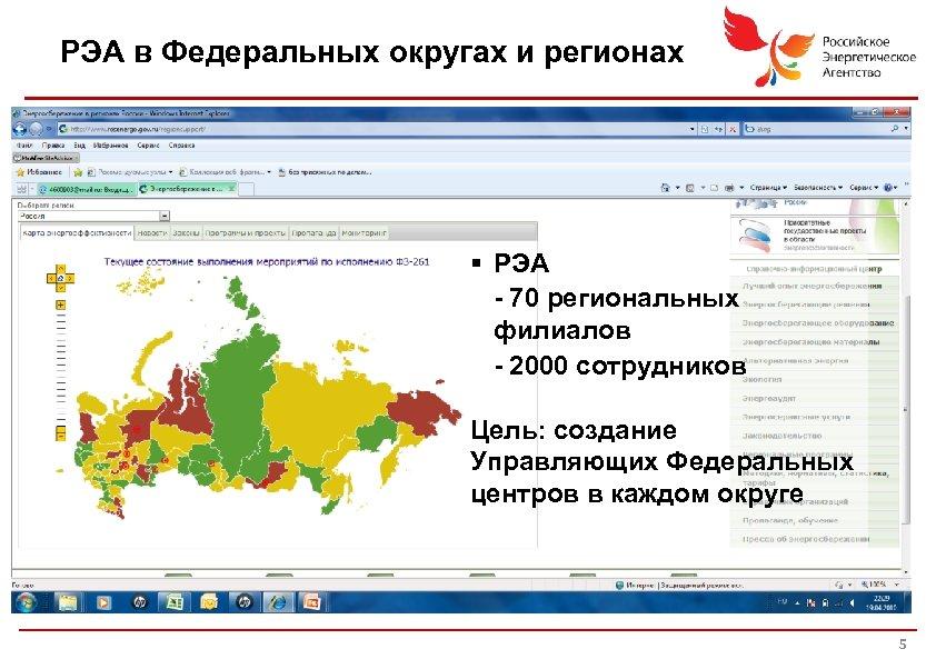 РЭА в Федеральных округах и регионах § РЭА - 70 региональных филиалов - 2000