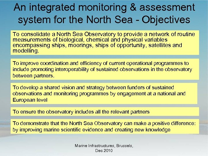 An integrated monitoring & assessment system for the North Sea - Objectives To consolidate