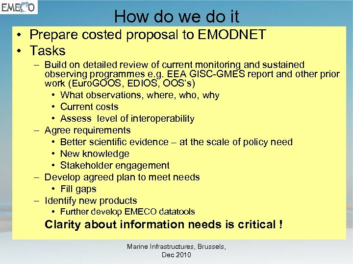 How do we do it • Prepare costed proposal to EMODNET • Tasks –