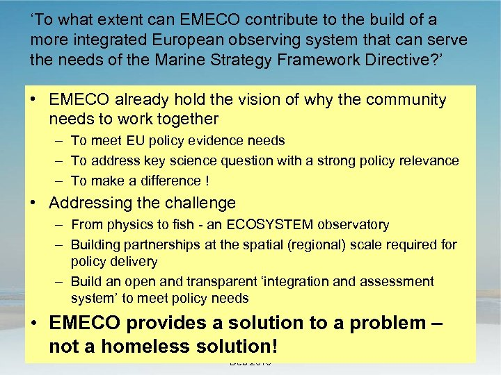 'To what extent can EMECO contribute to the build of a more integrated European
