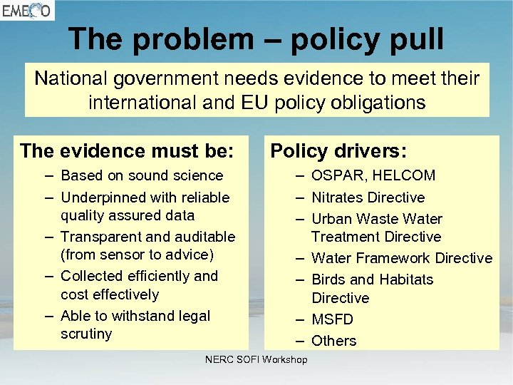 The problem – policy pull National government needs evidence to meet their international and