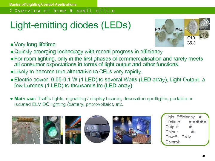 Basics of Lighting Control Applications > Overview of home & small office lighting Light-emitting