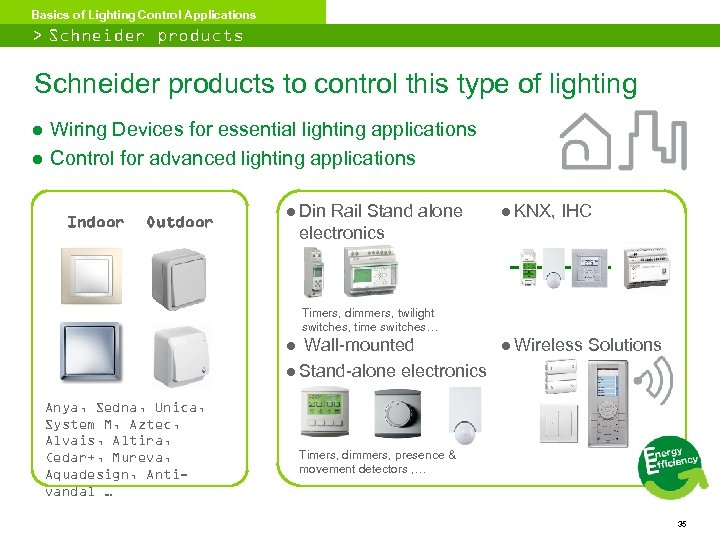 Basics of Lighting Control Applications > Schneider products to control this type of lighting