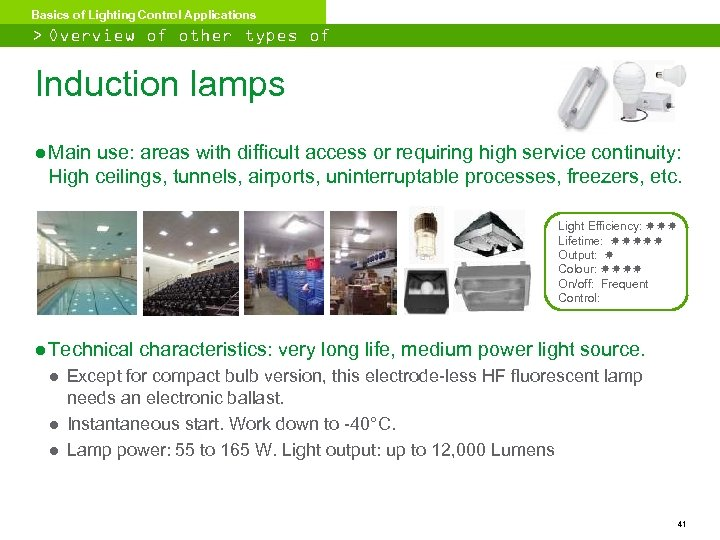 Basics of Lighting Control Applications > Overview of other types of lighting Induction lamps
