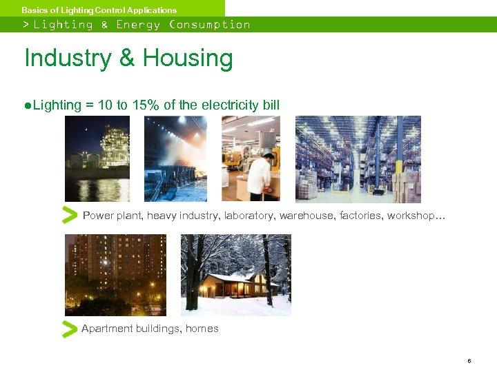 Basics of Lighting Control Applications > Lighting & Energy Consumption Industry & Housing ●