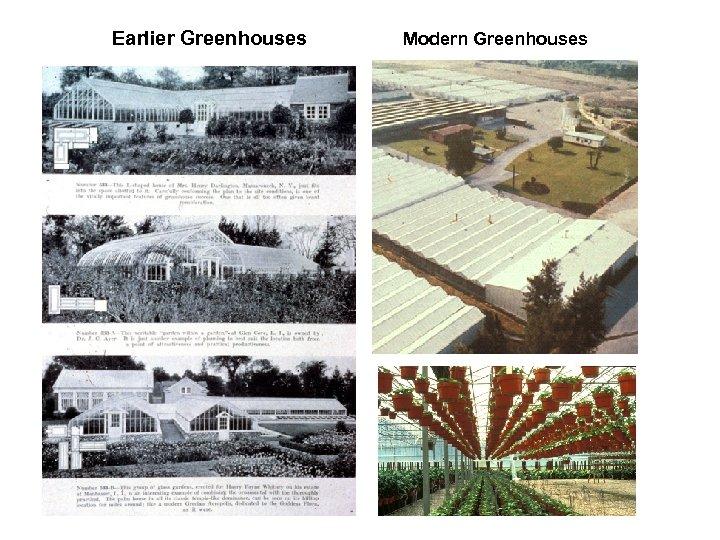 Earlier Greenhouses Modern Greenhouses