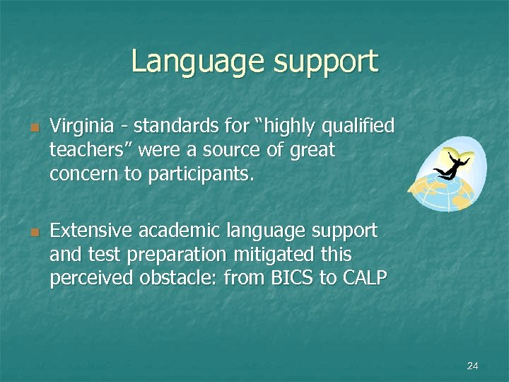 """Language support n n Virginia - standards for """"highly qualified teachers"""" were a source"""
