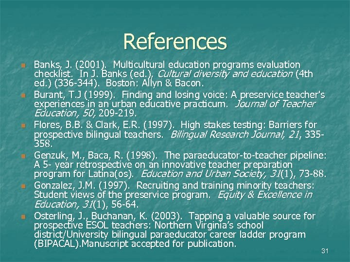 References n n n Banks, J. (2001). Multicultural education programs evaluation checklist. In J.