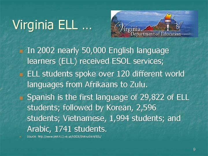 Virginia ELL … n n In 2002 nearly 50, 000 English language learners (ELL)