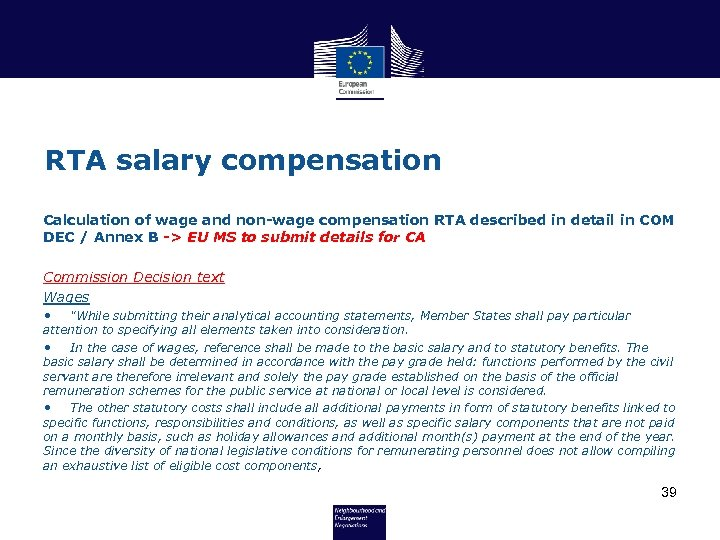 RTA salary compensation Calculation of wage and non-wage compensation RTA described in detail in